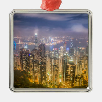 The view of Hong Kong from The Peak Silver-Colored Square Decoration