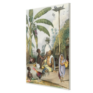 The Village Barber, plate 6 from 'Indians', engrav Canvas Print