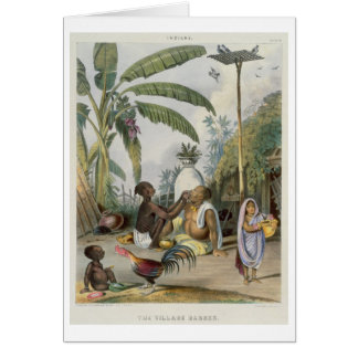 The Village Barber, plate 6 from 'Indians', engrav Card