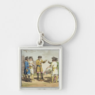 The Village Council, etched by the artist, publish Silver-Colored Square Key Ring
