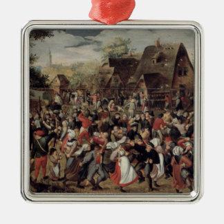 The Village Festival Silver-Colored Square Decoration