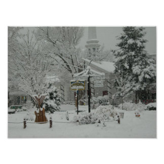 The Village Green Woodstock , New York Winter Poster