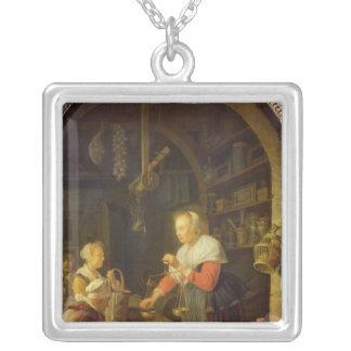 The Village Grocer, 1647 Square Pendant Necklace