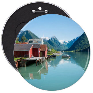 The village of Fjærland and a fjord in Norway 6 Cm Round Badge