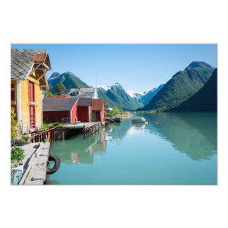 The village of Fjærland and a fjord in Norway Photograph