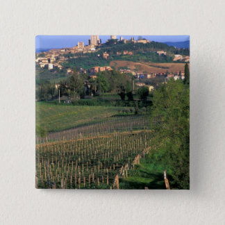 The village of San Gimignano sits in the rolling 15 Cm Square Badge