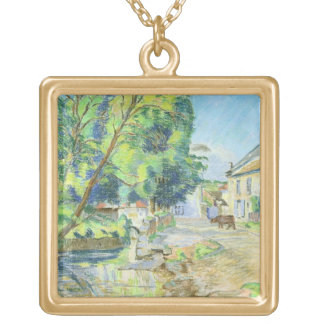 The Village (pastel on paper) Gold Plated Necklace