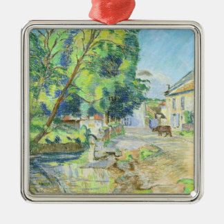 The Village (pastel on paper) Silver-Colored Square Decoration