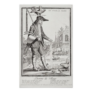 The Village Peasant, Born to Suffer, c.1780 Poster
