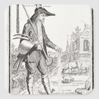 The Village Peasant, Born to Suffer, c.1780 Square Sticker