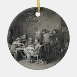 The Village Politicians, engraved by Abraham Raimb Round Ceramic Decoration