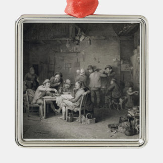 The Village Politicians, engraved by Abraham Raimb Silver-Colored Square Decoration