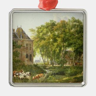 The Village Pond Silver-Colored Square Decoration