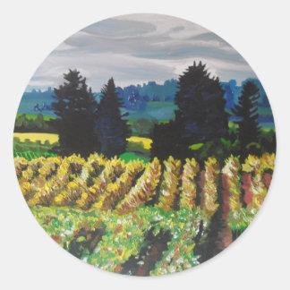 The Vineyard, oils on canvas, Classic Round Sticker