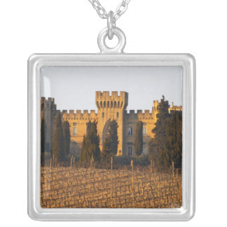 The vineyard with syrah vines and the chateau silver plated necklace