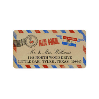 The Vintage Airmail Wedding Collection Label