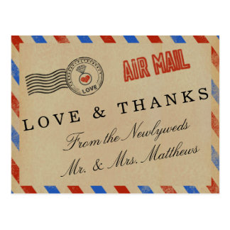 The Vintage Airmail Wedding Collection Postcard
