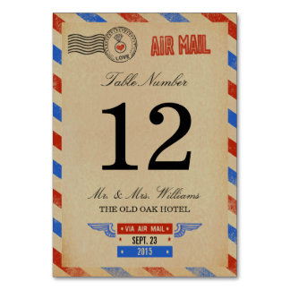 The Vintage Airmail Wedding Collection Table Card