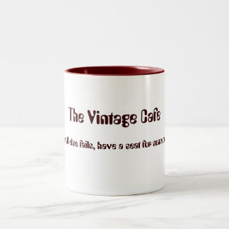 The Vintage Cafe white and red mug