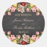 The Vintage Floral Chalkboard Wedding Collection Round Sticker