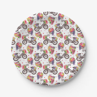 The Vintage Flowers Bike Pattern 7 Inch Paper Plate