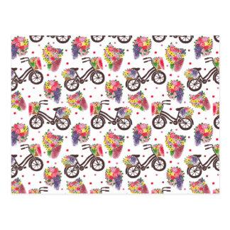 The Vintage Flowers Bike Pattern Postcard