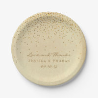 The Vintage Glam Gold Confetti Wedding Collection 7 Inch Paper Plate