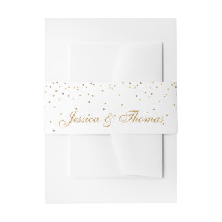 The Vintage Glam Gold Confetti Wedding Collection Invitation Belly Band