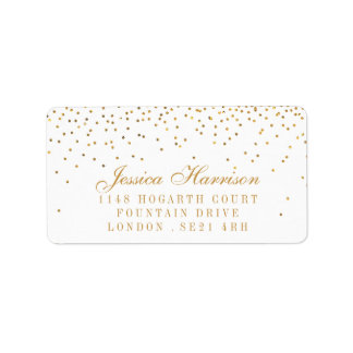 The Vintage Glam Gold Confetti Wedding Collection Label