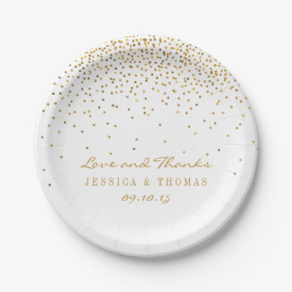 The Vintage Glam Gold Confetti Wedding Collection Paper Plate