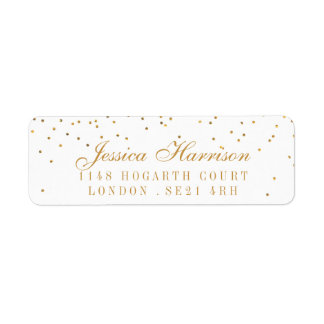 The Vintage Glam Gold Confetti Wedding Collection Return Address Label