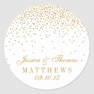 The Vintage Glam Gold Confetti Wedding Collection Round Sticker