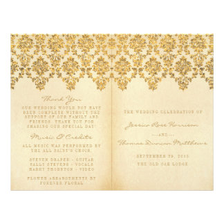 The Vintage Glam Gold Damask Wedding Collection 21.5 Cm X 28 Cm Flyer