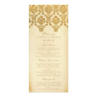 The Vintage Glam Gold Damask Wedding Collection Personalized Rack Card