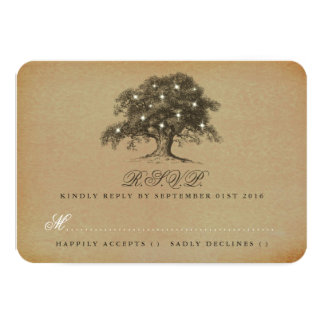 The Vintage Old Oak Tree Wedding Collection - RSVP 9 Cm X 13 Cm Invitation Card