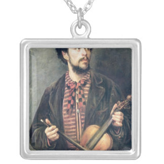 The Violin Player Silver Plated Necklace