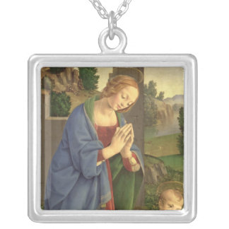 The Virgin Adoring the Child, 1490-1500 Silver Plated Necklace
