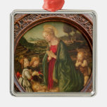 The Virgin Adoring the Christ Child Silver-Colored Square Decoration
