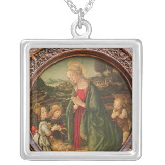 The Virgin Adoring the Christ Child Silver Plated Necklace