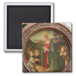 The Virgin Adoring the Christ Child Square Magnet