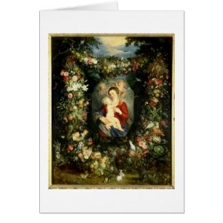 The Virgin and child in a garland of fruit and flo Greeting Card