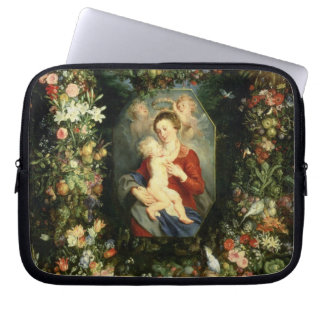 The Virgin and child in a garland of fruit and flo Laptop Computer Sleeves