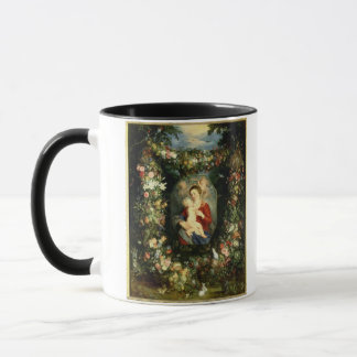 The Virgin and child in a garland of fruit and flo Mug