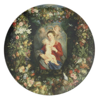 The Virgin and child in a garland of fruit and flo Plate