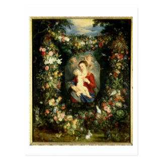 The Virgin and child in a garland of fruit and flo Postcard