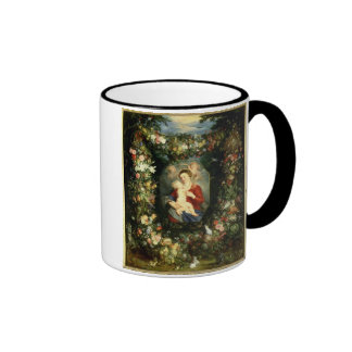 The Virgin and child in a garland of fruit and flo Ringer Mug