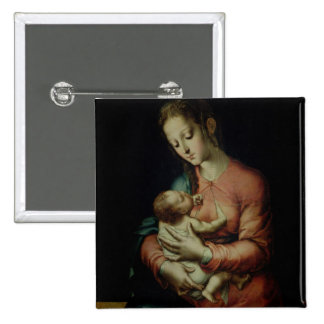 The Virgin and Child (oil on panel) 15 Cm Square Badge