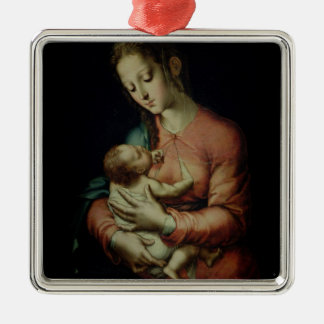 The Virgin and Child (oil on panel) Christmas Ornament
