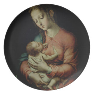 The Virgin and Child (oil on panel) Dinner Plate