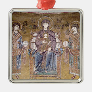 The Virgin and Child Silver-Colored Square Decoration